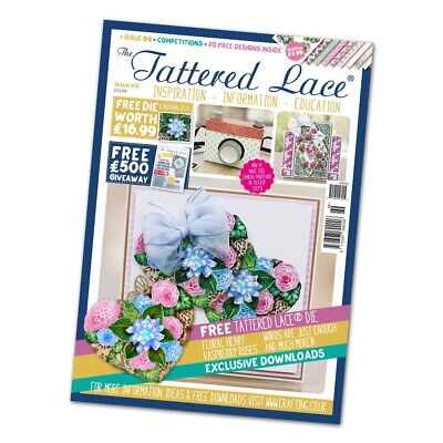 NEW Tattered Lace Issue 69 Magazine With FREE Floral Heart Die - CLEARANCE • 8.95£