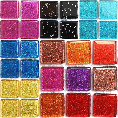 £13.10 • Buy 20mm Glitter Mosaic Tiles For Arts And Crafts - Sheet Various Colours