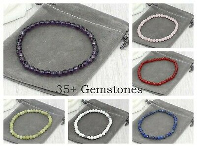 Handmade Semi Precious 4mm Gemstone Stretch Bracelet & Velvet Pouch. Various • 4.49£