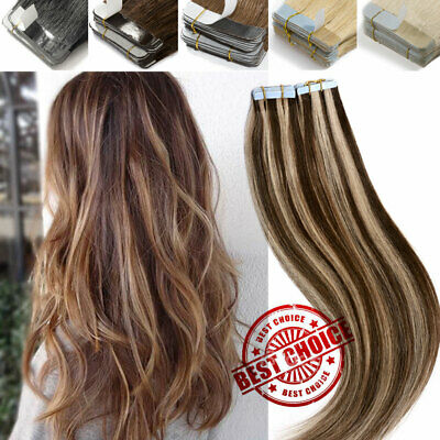 8A Russian Tape In Thick-Glue Remy Real Human Hair Extensions Full Head UK STOCK • 12.81£