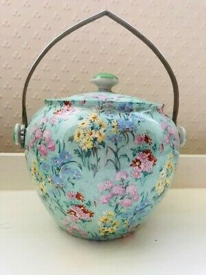 Rare Art Deco Shelley 'Melody' Chintz  Biscuit Barrel With Chrome Handle C1935 • 140£