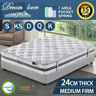 AU80.66 • Buy QUEEN KING SINGLE DOUBLE DREAM LOVER Bedding Mattress Bed Spring Pocket Foam