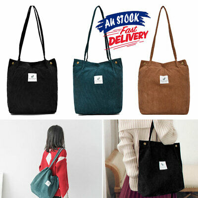 AU14.18 • Buy Shopping Bag Beach Women Shoulder Large Tote Pouch Corduroy Handbag Capacity