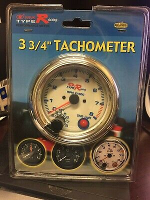 $59.99 • Buy Chrome Auto Gage 0-8,000 RPM 3-3/4  Pedestal Tachometer With SHIFT LIGHT Type R