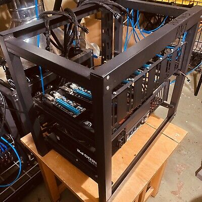 6 Gpu Mining Rig Frame With Motherboard Psu Raisers Procesor Windows10  • 400$
