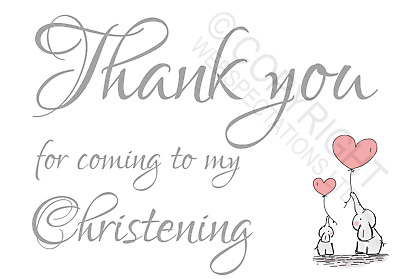 £0.99 • Buy 1-100 Pack Thank You For Coming To My Christening Cards Favours Girls Elephant