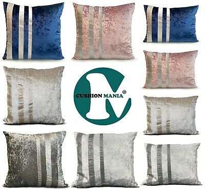 £6.99 • Buy Cushions Covers Velvet Crushed Or Filled Cushions Glitter Stripe Silver Grey