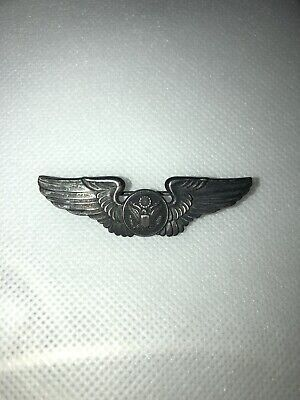 Orig WWII US Army AIR FORCE STERLING Silver PILOTS WINGS PIN 3  • 13.50$