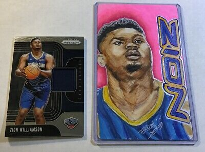 ZION WILLIAMSON 2019-20 Prizm RC Relic ROOKIE Jersey Patch + 1/1 Sketch Lot HOT! • 0.99$