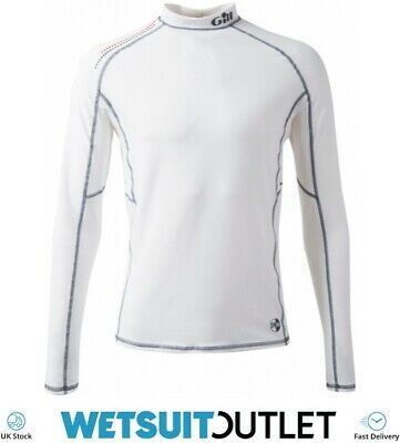 Gill Pro Rash Vest Top WHITE Easy Stretch UV Sun Protection SPF Long Sleeve • 28.95£