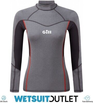 Gill Womens Pro Long Sleeve Rash Vest Top - Grey Melange - Lightweight UV • 39.94£