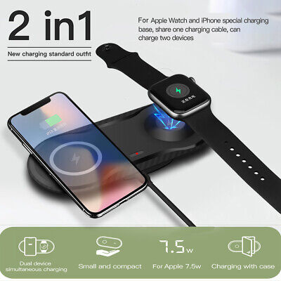 $ CDN14.12 • Buy 2in1 10W Qi Wireless Charger Dock Pad For Apple Watch 5/4/3/2/1 IPhone 11 8 X XS