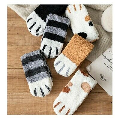 $4.48 • Buy Women Cat Claws Soft Fluffy Cozy Bed Socks Casual Winter Warm Christmas Gift