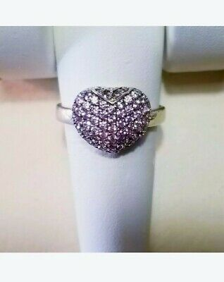 $165 • Buy JTV Sterling Silver Charles Winston CWE Pink Pave Heart Ring 8.75