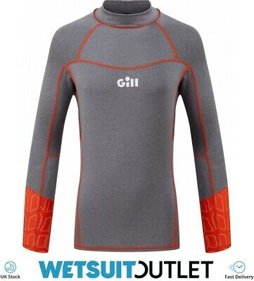 Gill Junior Pro Long Sleeve Rash Vest Top - Grey Melange - Lightweight UV • 29.95£