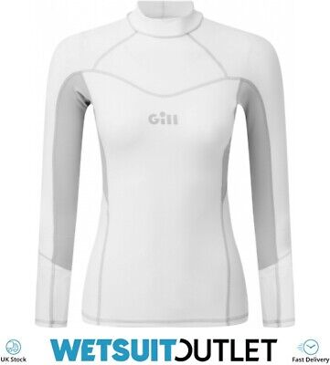 Gill Womens Pro Long Sleeve Rash Vest Top - White - Lightweight UV Sun • 39.94£