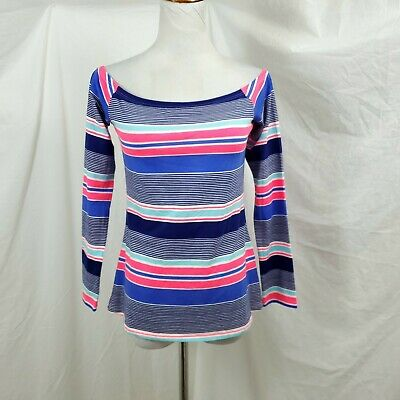 Lilly Pulitzer Audelia S Off The Shoulder Top Stretch Long Sleeve Blue Neon Pink • 22$