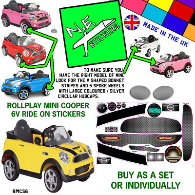 Replacement Stickers To Fit Kids Rollplay ELECTRIC 6v MINI COOPER S Car Toy Ride • 22.50£