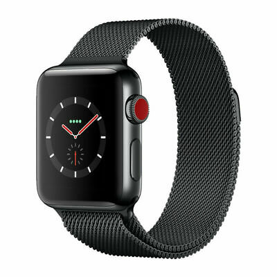 $ CDN572.57 • Buy Apple Watch Series 3 42mm - Black Stainless Steel - Milanese Loop - GPS+Cellular