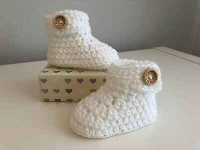 Handmade Crochet Knitted Baby Bootees Boots Booties Shoes 0 - 12 Months - White • 6.95£