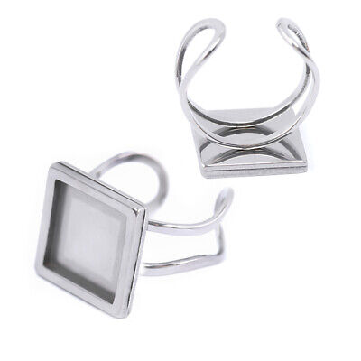 £3.59 • Buy 2X Ring Cabochon Base Blank Cameo Flat Settings Stainless Steel Bezels Tray 10mm