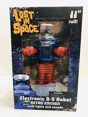 "AU89.99 • Buy Lost In Space - B-9 Electronic 11"" Robot Blue & Red Retro Edition Lights & Sound"