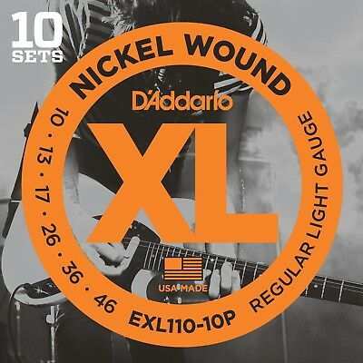 $ CDN54.85 • Buy 10 Sets D'Addario EXL110-10P Electric Guitar Strings 10-46 Light Pack