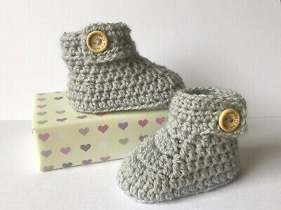 Crochet Knitted Baby Bootees Boots Booties Shoes 0 - 12 Months - Silver Grey • 6.95£