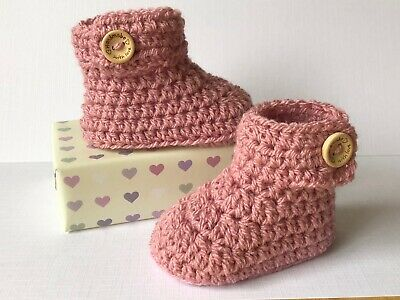 Crochet Knitted Baby Bootees Boots Booties Shoes 0 - 12 Months - Vintage Pink • 6.95£