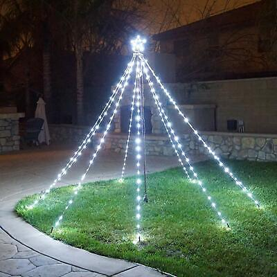 $39.99 • Buy Waterfall Christmas Tree Lights With Star Indoor Outdoor String Cone Tree Curtai