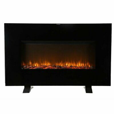 $183.99 • Buy Wall Mounted Electric Fireplace Blower LED Flames Heater Black 5100 BTU Deluxe