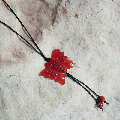 Genuine CARNELIAN & Red Jasper Carved BUTTERFLY Pendant & Long Cord Necklace • 5.95£