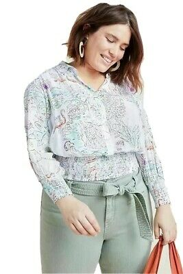 $ CDN42.22 • Buy Anthropologie Maeve Plus Size XL Rosa Blouse Top Paint By Number Whimsical Print