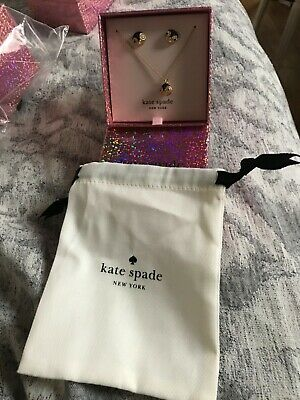 $ CDN52.28 • Buy Kate Spade Dashing Beauty Penguin Gold/black Pave Pendant And Studs Boxed Set