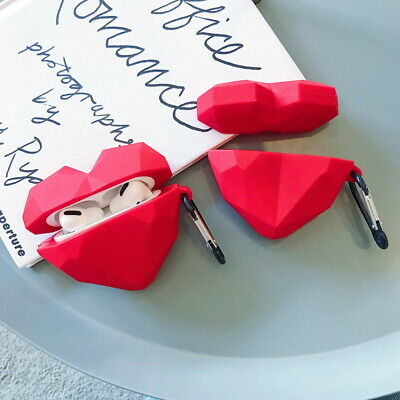 $ CDN5.62 • Buy Diamond 3D Red Heart Lips Charging Box Protector Soft Case Cover For AirPods Pro
