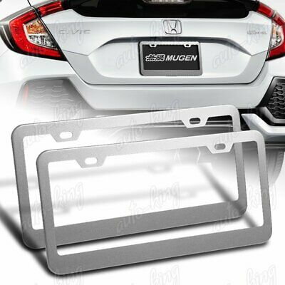 $9.49 • Buy 2 X Silver Aluminum Alloy Car License Plate Frame Cover Front Or Rear US Size