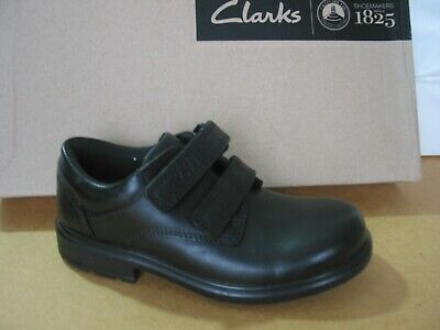 New Clarks Deaton Black Leather Little Boys School Shoes Size 10 F • 21.99£