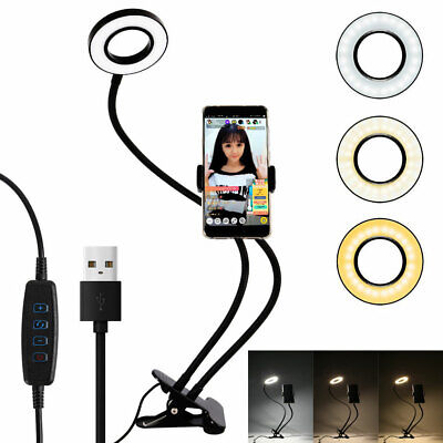 AU23.99 • Buy LED Studio Ring Light Photo Video Dimmable Lamp W/ Clip Selfie Camera Phone Live