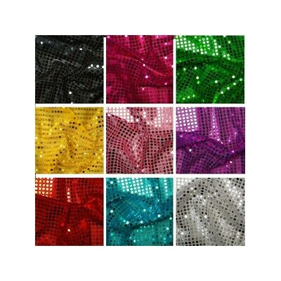 £3.49 • Buy SEQUIN JERSEY STRETCH SHINY SPARKLY DECORATION MATERIAL Nylon Fabric Fancy Dress