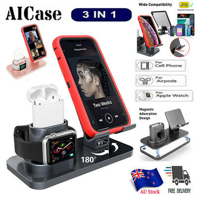 AU30.98 • Buy 3in1 Charging Dock Station Holder Stand F Apple Watch AirPods IPad IPhone 11 Pro