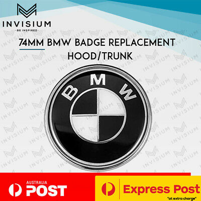 AU13.95 • Buy 74MM BLACK Bonnet Hood Trunk Replacement Badge For BMW E46 E90 E82 F22 F30 F80 M