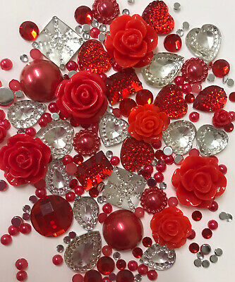 20g RED+CLEAR Pearls/Roses/Gems Flatback Kawaii Cabochons Decoden Craft • 2.79£