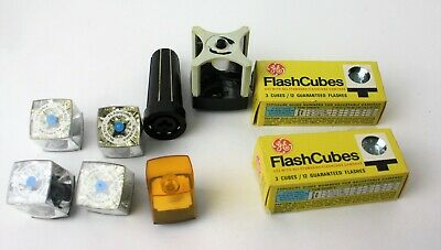 $19 • Buy Vintage Mixed Lot GE & Sylvania  Blue Dot Cube Bulbs 10 Flashes W/ Adapters