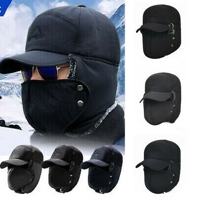 Warmer Thermal Thick Winter Windproof Mens Hat Earflap Russian Face Mask Caps • 6.59£