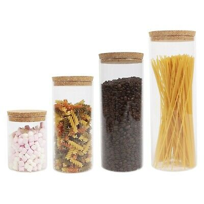 Clear Glass Food Storage Canister Jar With Cork Stopper Lid & Airtight Sealing • 16.95£