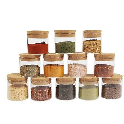 Small Glass Canister With Cork Stopper Lid & Airtight Sealing, Mini Spice Jars • 15.95£