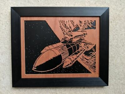 Space Shuttle Discovery Original Framed Hand-crafted Scroll Saw Art • 74.99£