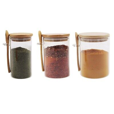 Small Glass Canister Sugar With Bamboo Lid & Spoon, Airtight Sealing, Spice Jars • 19.95£