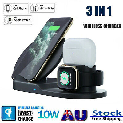 AU26.89 • Buy For Iphone IWatch Airpod 3in1 Wireless Charger Dock Stand Station Fast Charging