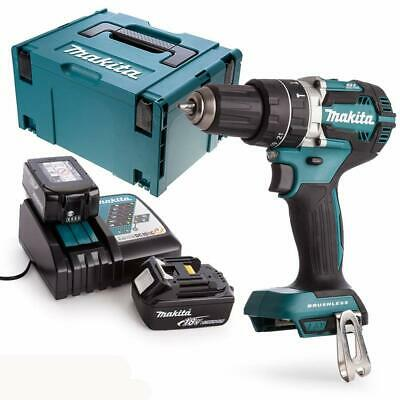 Makita DHP484 18v Combi Drill Body With 2 X 3Ah Batteries, Charger, Case & Inlay • 240£